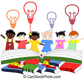 Children of different nationalities beside an open book with the symbol of the idea in the hands of