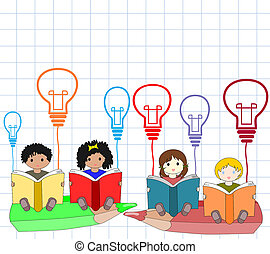 Children of different nationalities beside an open book with the symbol of the ideas in his hands sitting on a pencil