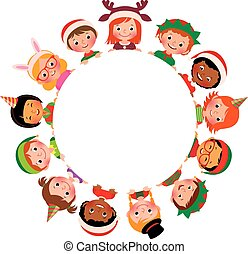 Children of different nationalities in the costumes of Christmas in the circle isolated on white background
