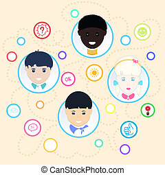 Children of different nationalities. Vector illustration