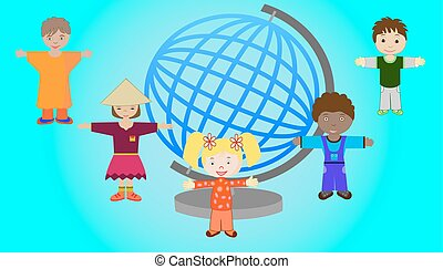 Children of different nations of the world together