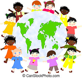 Children of different races around the map of our planet green