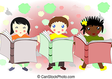 Children of different races reading a book together