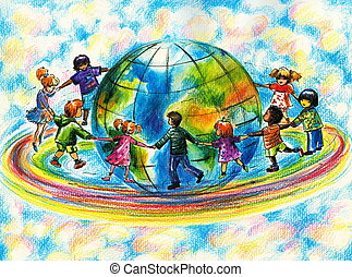 Children of different races running on rainbow around planet...