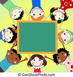 Children of different races together in a circle with the school board on sunny background
