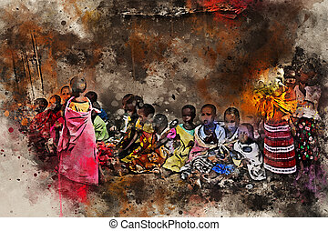 Children of maasai tribe seat on the ground near their houses. Problems of African children are very sharp nowadays and have actual humanitarian significance