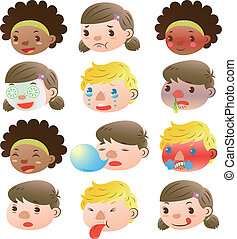Children of various facial expressi