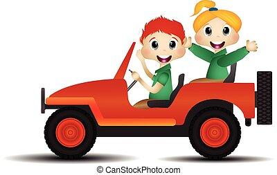 Children on a car vector