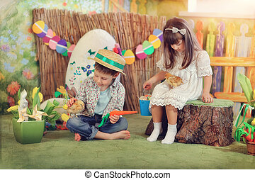 children on a farm