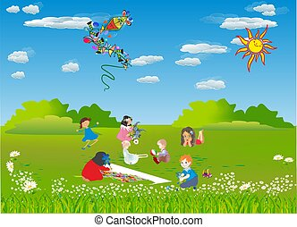 children on a meadow,