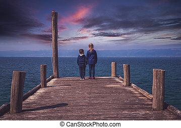 Children on a pier in Lake Ohrid