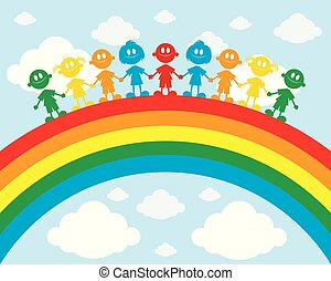Children on a rainbow
