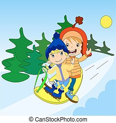 Children on a sled ride with the mountain