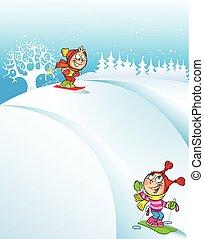 children on a snowy hill