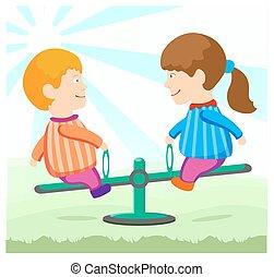 children on a swing