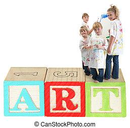 Children on Alphabet Blocks