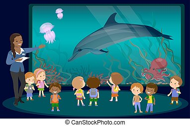 Children on an excursion to the aquarium