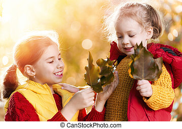 children on autumn walk