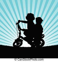 children on bike illustration silhouette in nature