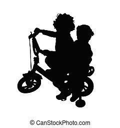 children on bike silhouette illustration