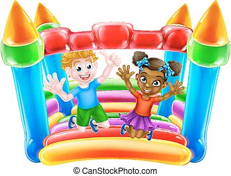 Children on Bouncy Castle - Cartoon boy and girl playing on...