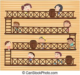 Children on different levels