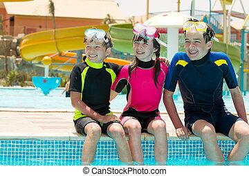 Children on edge of pool