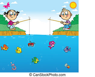 children on fishing - The illustration shows a boy and girl...