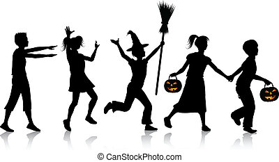Children on Halloween night - Silhouettes of children...