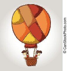children on hot air balloon