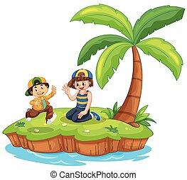 Children on island scene