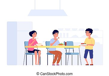 Children on lunch. School kids eating, cafeteria room table. Flat students in canteen meeting new friend, dining time vector illustration