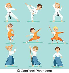 Children On Martial Arts Practice Set Of Bright Color...