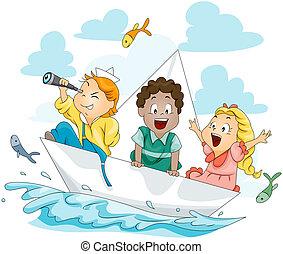 Children on Paper Boat