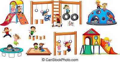 Children on playground equipment illustration