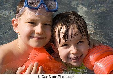 children on pool