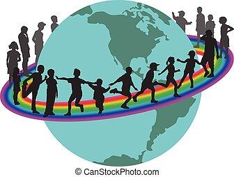 Children on rainbow around the eart