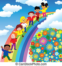 Children on rainbow slide. Vector art-illustration on a blue...