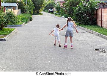Children on roller skates