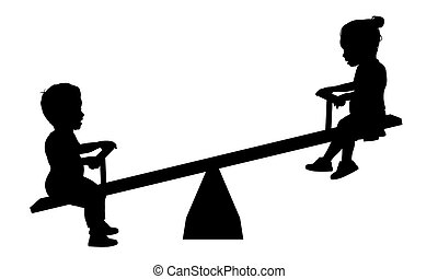 Children on Seesaw - Illustration of two children playing on...