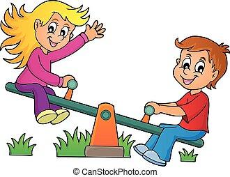Children on seesaw theme image 1