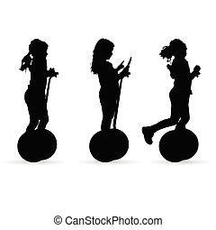 children on segway silhouette illustration in black