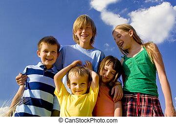 Children on sky