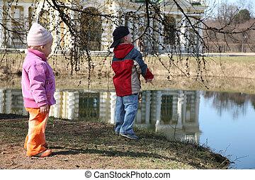 children on spring pond
