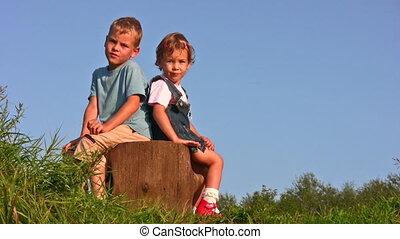children on stump