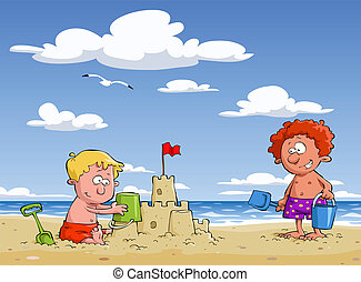 Children on the beach - Cartoon children on the beach,...