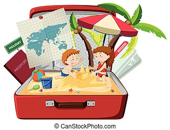 Children on the beach in luggage
