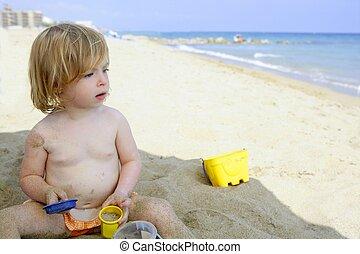 Children on the beach sun screen protection moisture cream