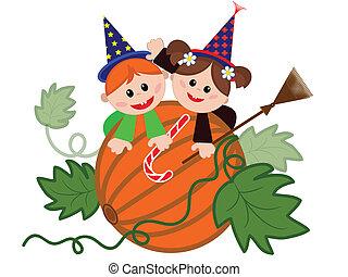 Children on the pumpkin