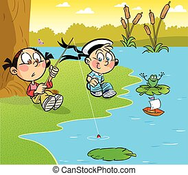 children on the shore of the pond - The illustration of boy ...